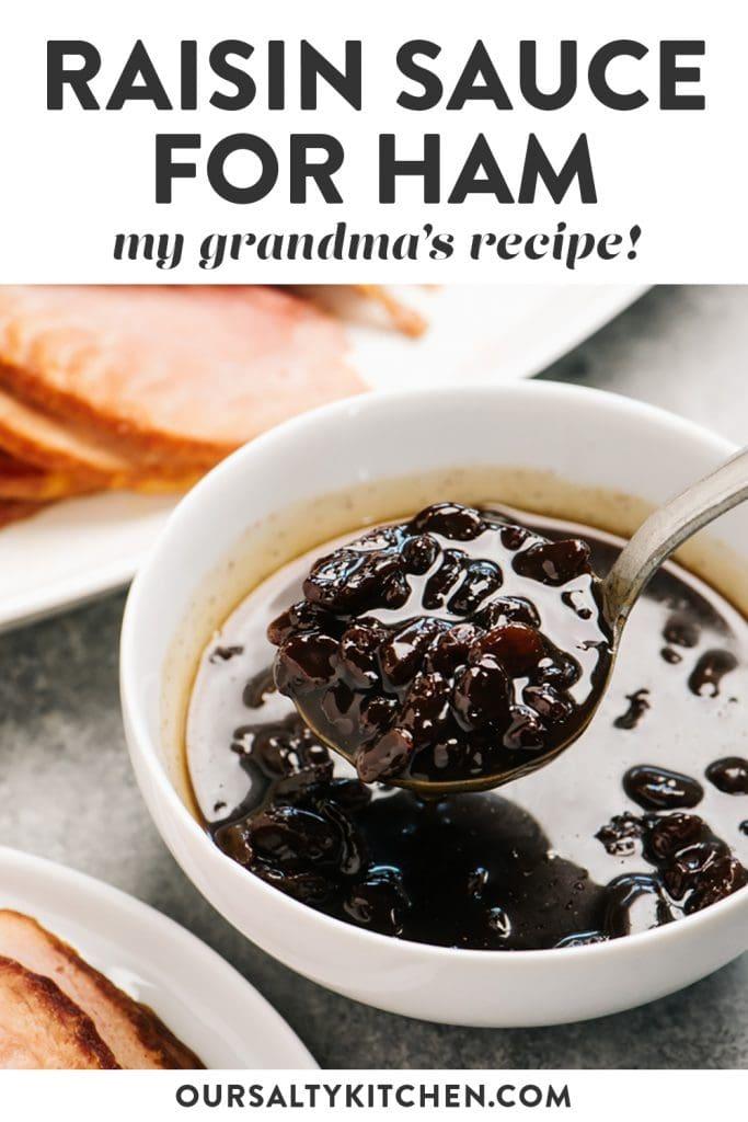 Pinterest image for classic raisin sauce recipe.