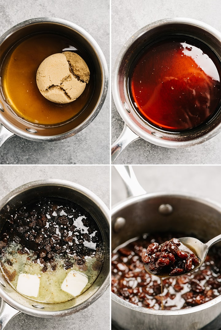 A collage showing how to make raisin sauce step by step.