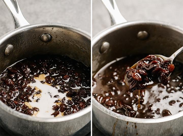 Adding cornstarch to a small sauce pot to thicken raisin sauce.
