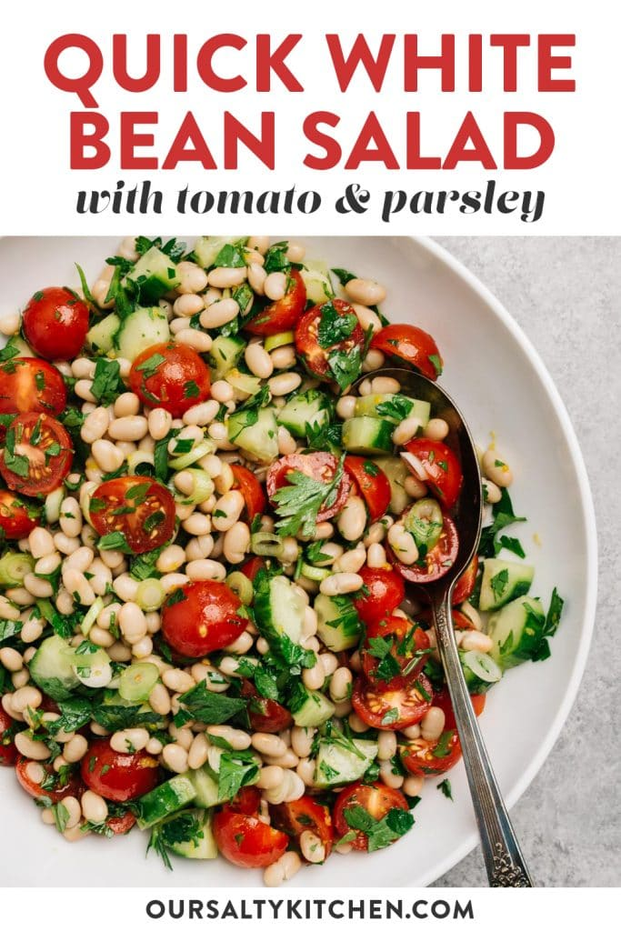 Pinterest image for a white bean salad recipe.