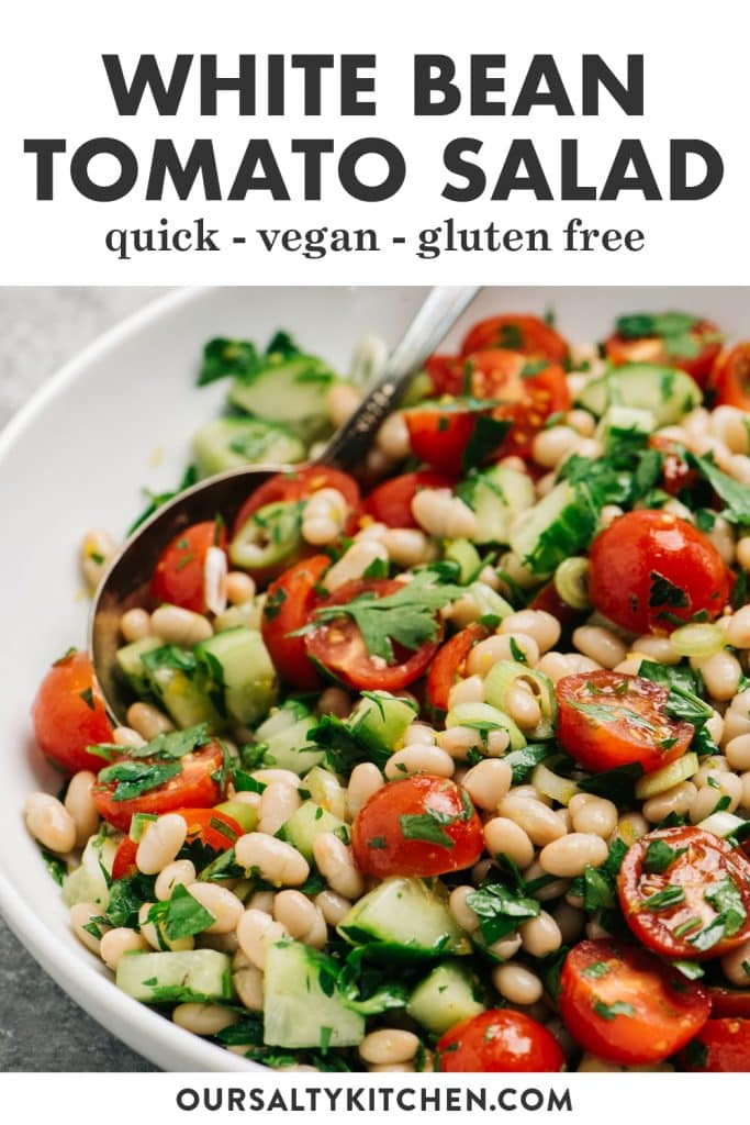 Pinterest image for a white bean and tomato salad recipe.