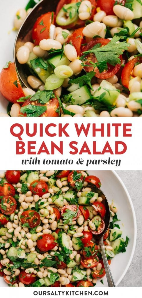 Pinterest collage for a white bean salad recipe.
