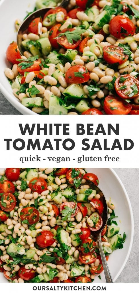 Pinterest collage for a white bean and tomato salad recipe.