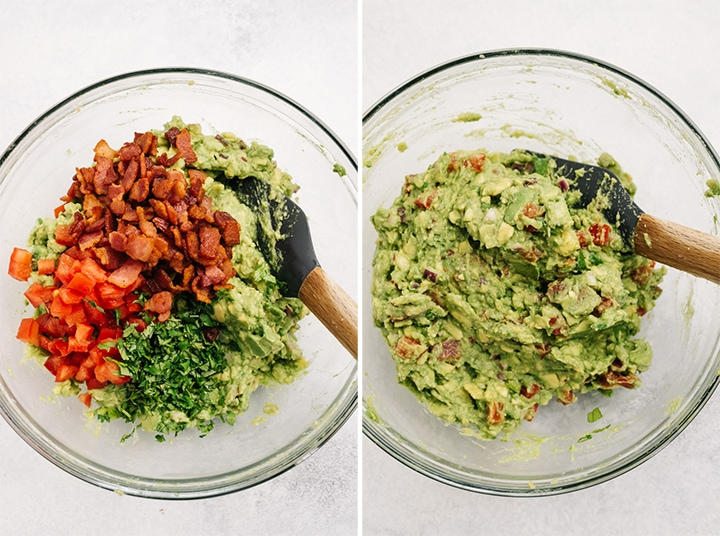 The ingredients for guacamole with bacon before and after being mixed in a glass bowl.