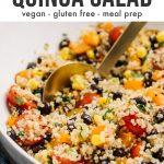 Pinterest image for a southwestern quinoa salad recipe.