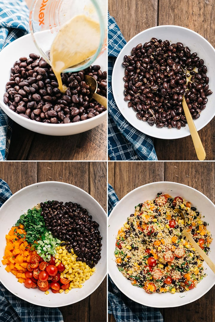 A collage showing how to make a southwestern style black bean quinoa salad with tomatoes, corn, and bell pepper.