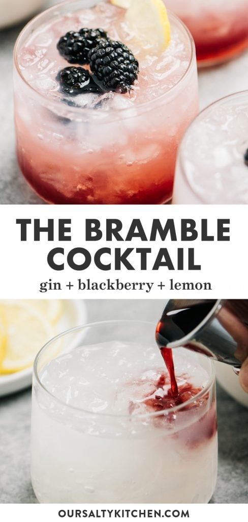 Pinterest collage for the bramble - a gin sour with black raspberry liqueur.