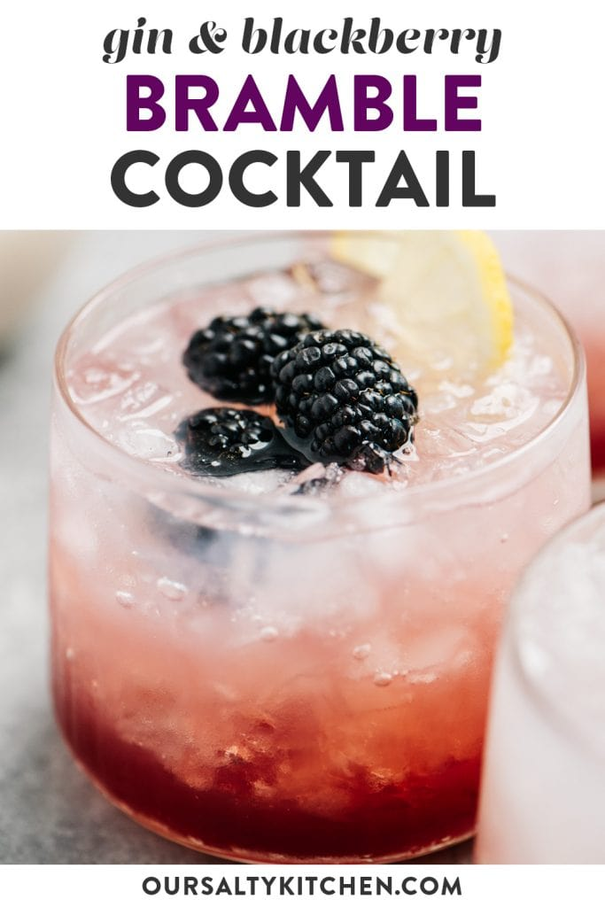 Pinterest image for a bramble cocktail recipe.