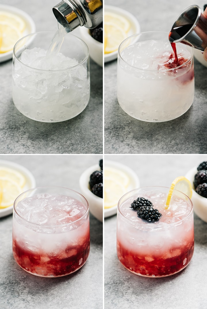 A collage showing how to make a bramble cocktail with gin and blackberry liqueur.