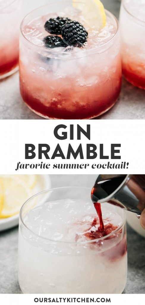 Pinterest collage for a bramble cocktail recipe.