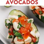 Pinterest image for bruschetta stuffed avocado recipe.