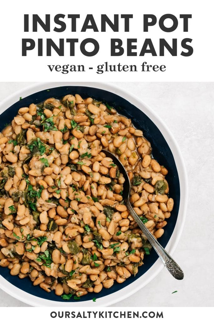 Pinterest image for an instant pot pinto beans recipe.