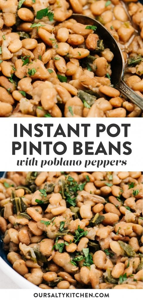 Pinterest collage for a recipe for mexican pinto beans cooked in a pressure cooker.
