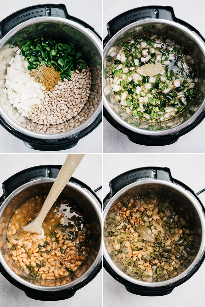 A collage showing how to cook pinto beans in an instant pot pressure cooker.