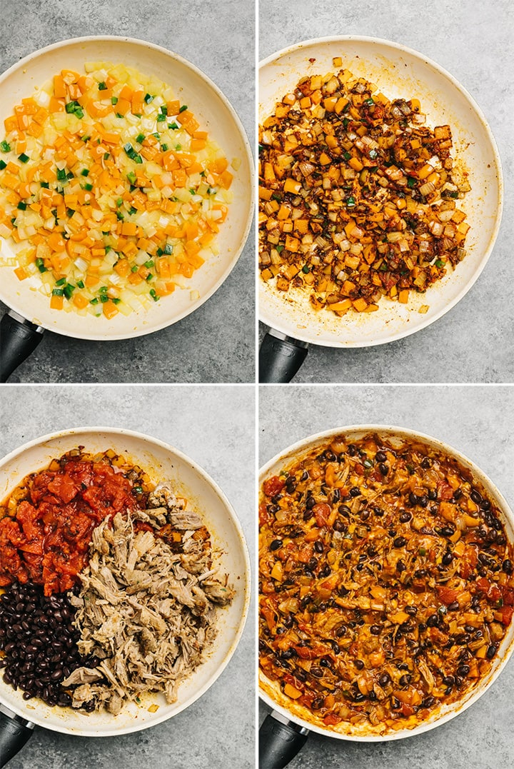 A collage showing how to make filling for tamale pie using leftover pulled pork.
