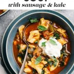 Pinterest image for an italian sausage and tortellini soup recipe.