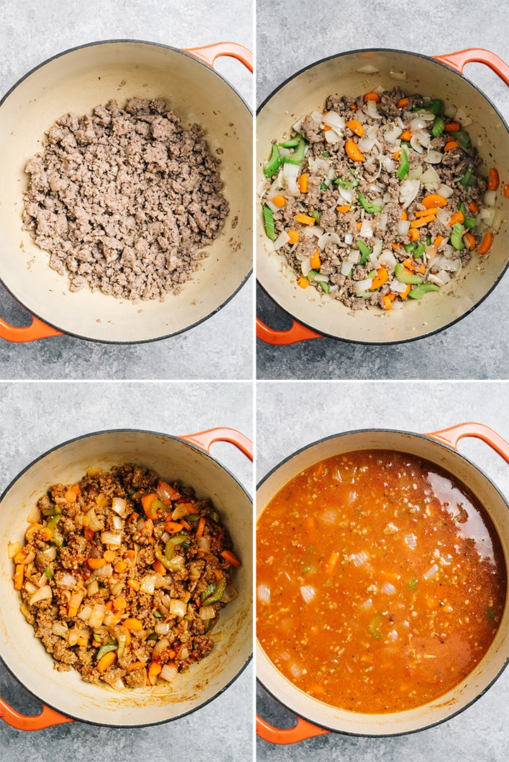A collage showing how to make the base for italian sausage soup with tortellini.
