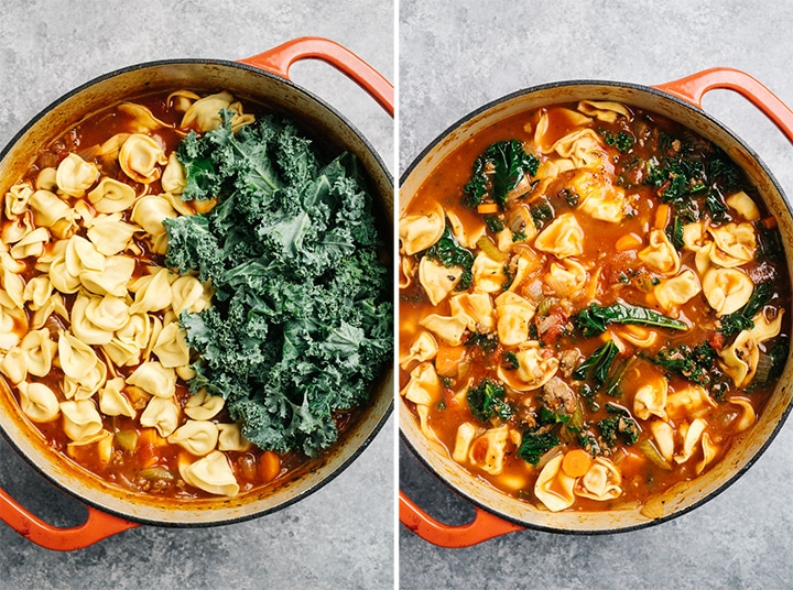 Raw kale and cheese tortellini before and after being cooked into a sausage soup recipe.