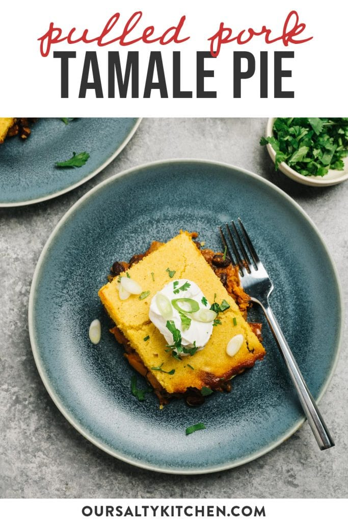 Pinterest image for a pulled pork tamale pie recipe.