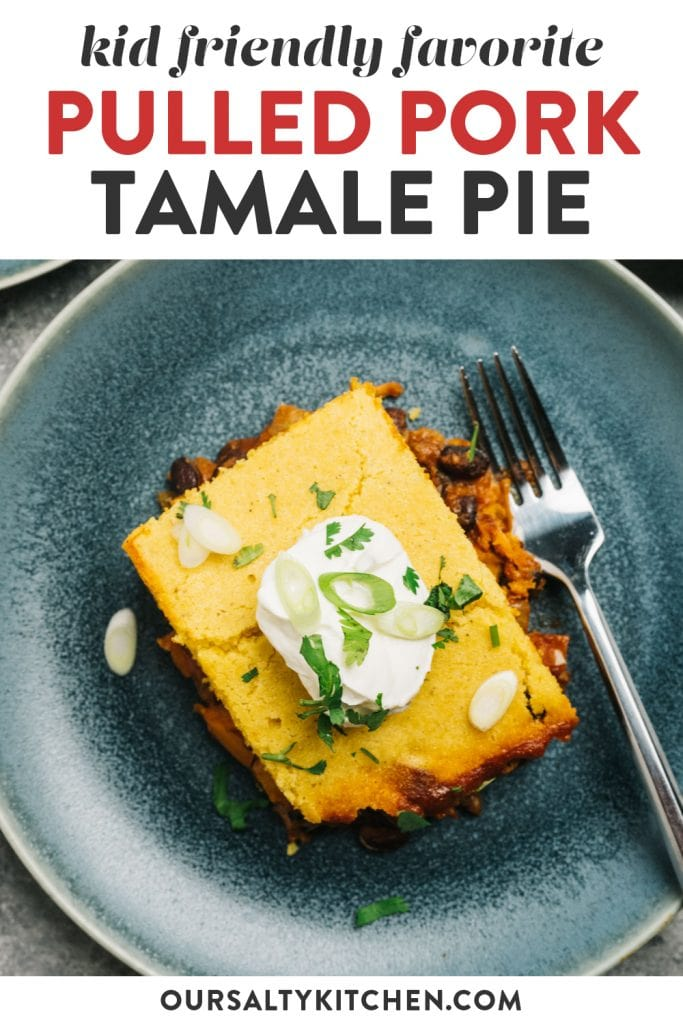 Pinterest image for a tamale pie recipe using leftover pulled pork.