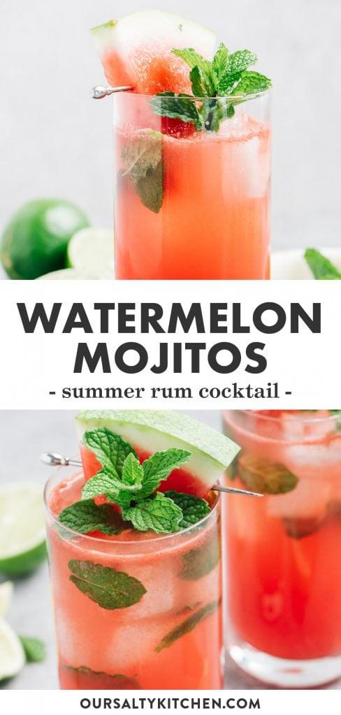 Pinterest collage for a watermelon mojito recipe.