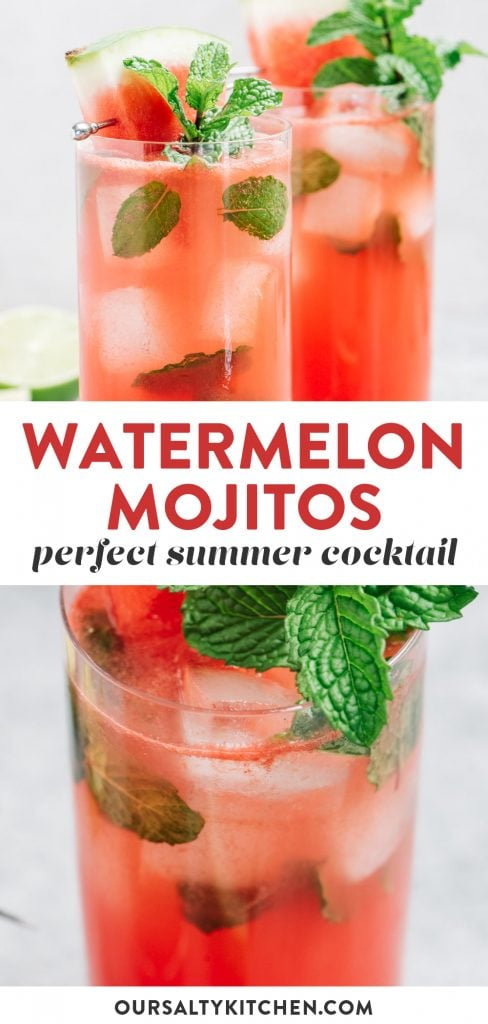 Pinterest collage for a watermelon mojito cocktail.