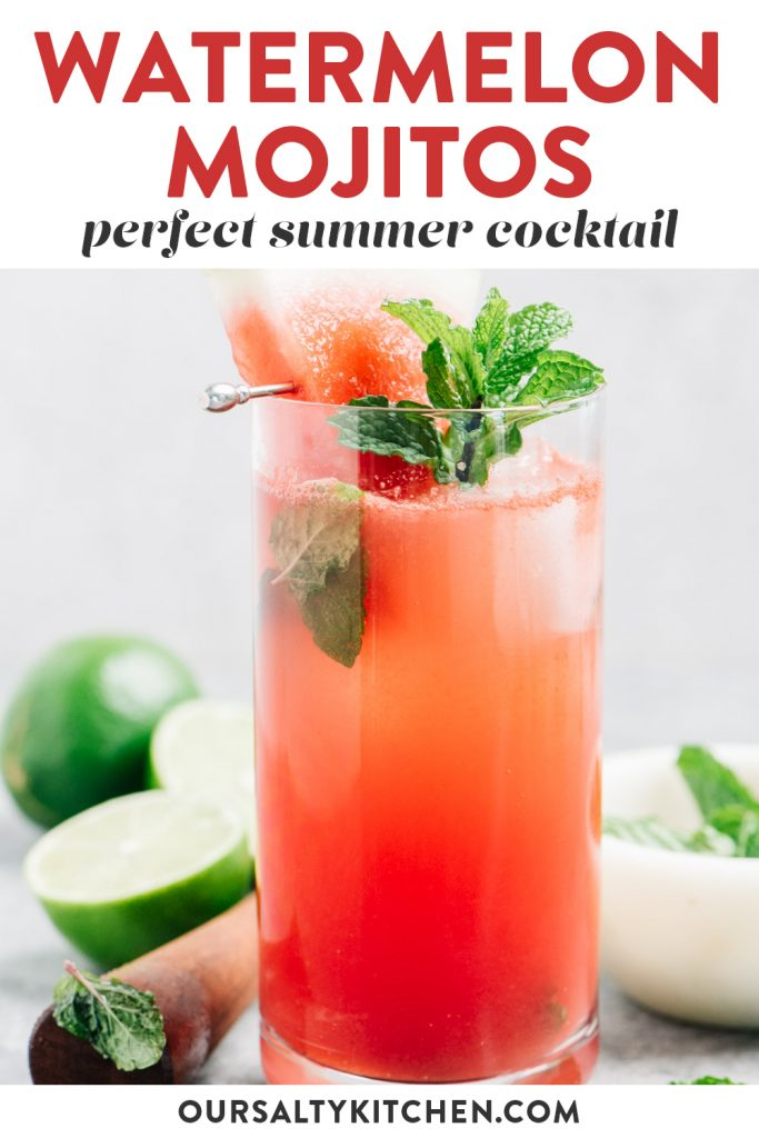 Pinterest image for a watermelon mojito cocktail.