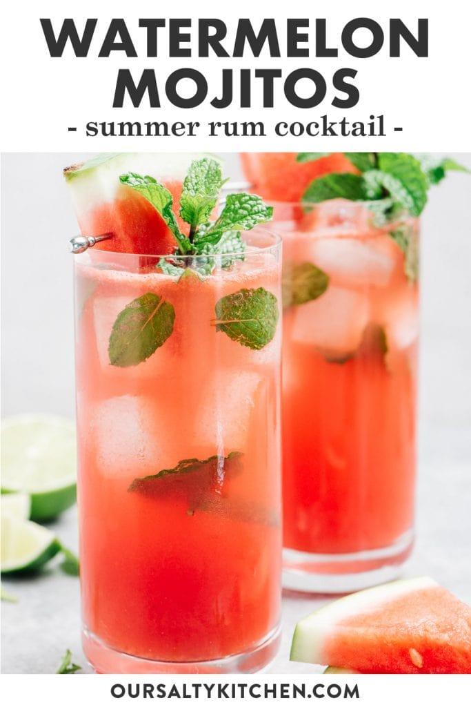 Pinterest image for a watermelon mojito recipe.