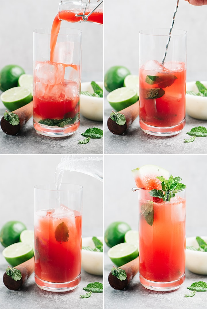 A collage showing how to make a watermelon mojito cocktail.