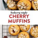 Pinterest collage for a bakery style cherry muffins recipe.