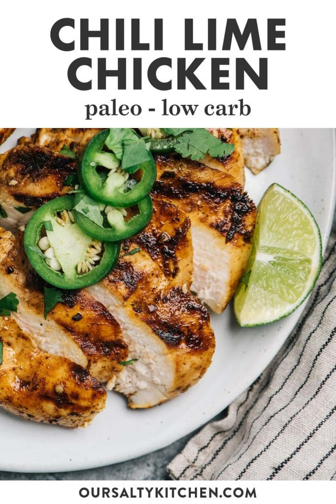 Pinterest image for a paleo chili lime chicken recipe.