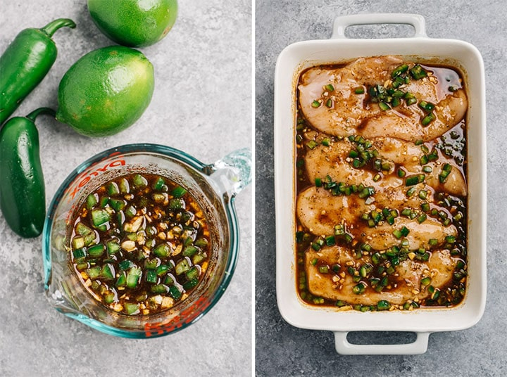 A measuring cup with prepared chili lime chicken marinade; a baking dish with raw chicken breasts covered in marinade.