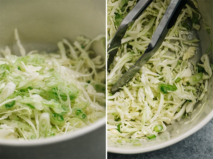 Lime coleslaw in a mixing bowl before and after being tossed.