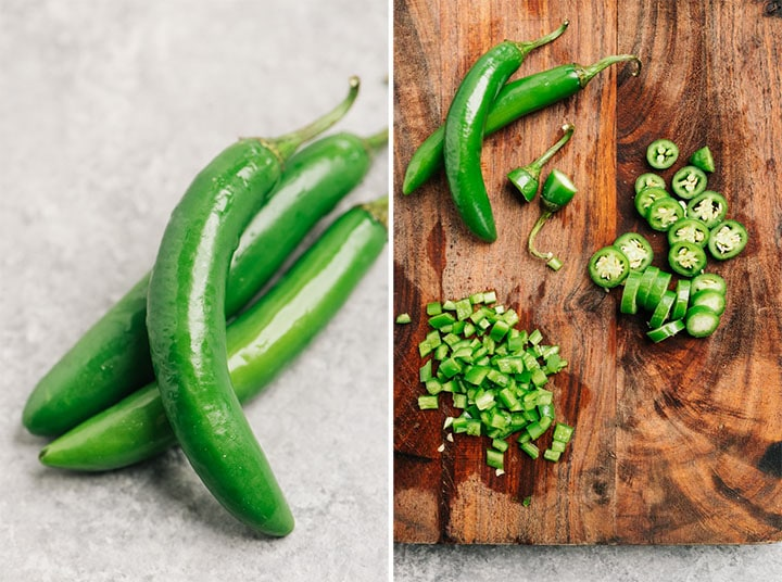 How to cut serrano chilies for potato tacos with and without their seeds.