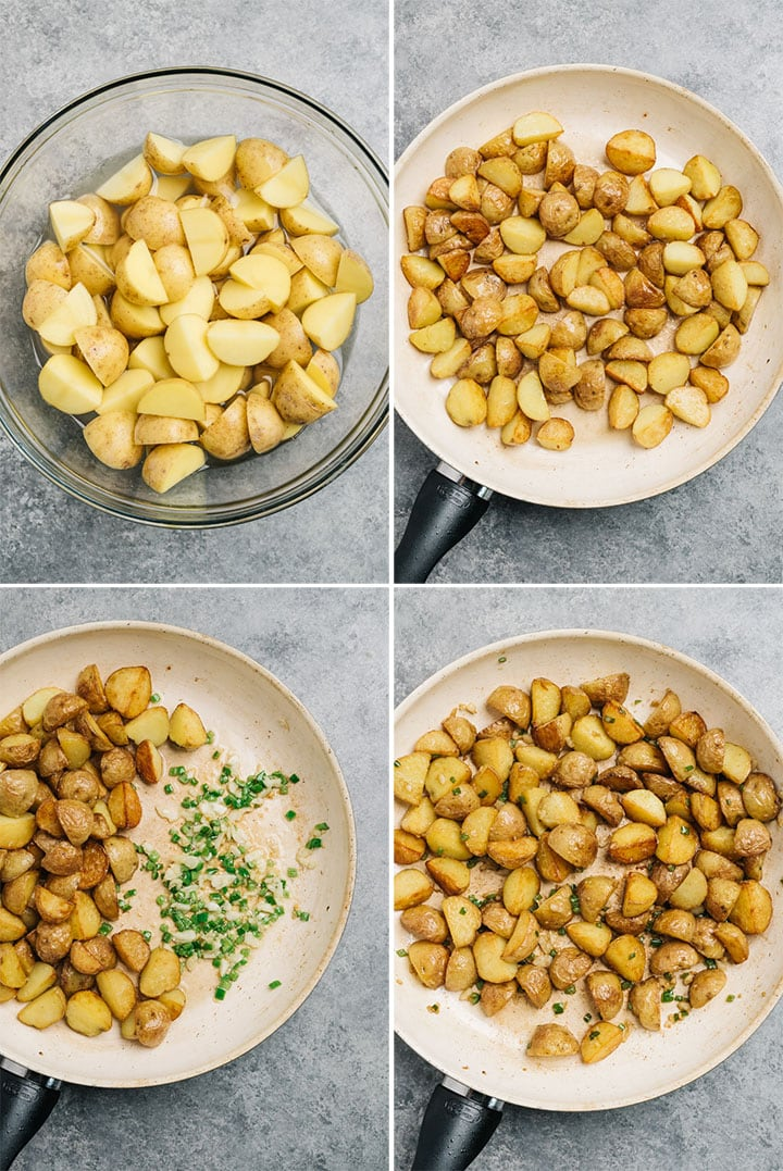 A collage showing how to cook very crispy spicy potatoes in a skillet with garlic and serrano chilies.