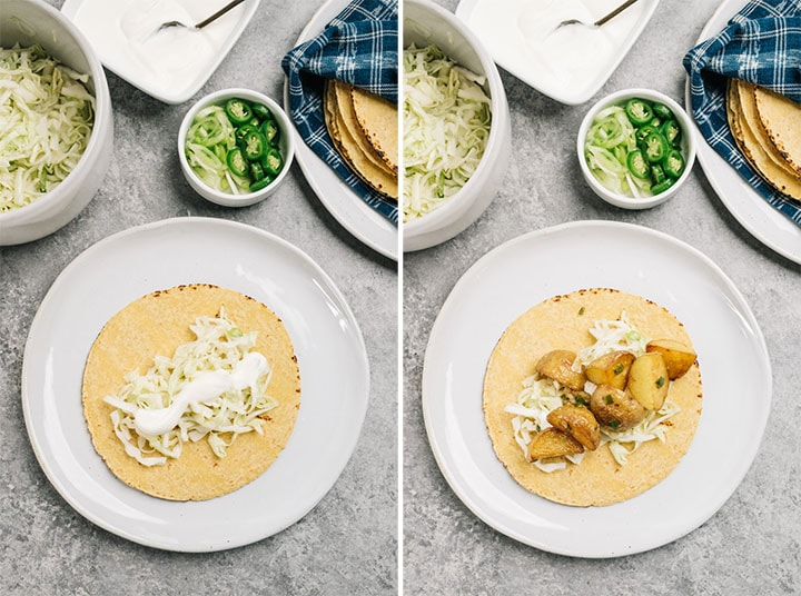 Side by side images showing how to compose a potato taco with lime coleslaw, sour cream, and spicy potatoes.