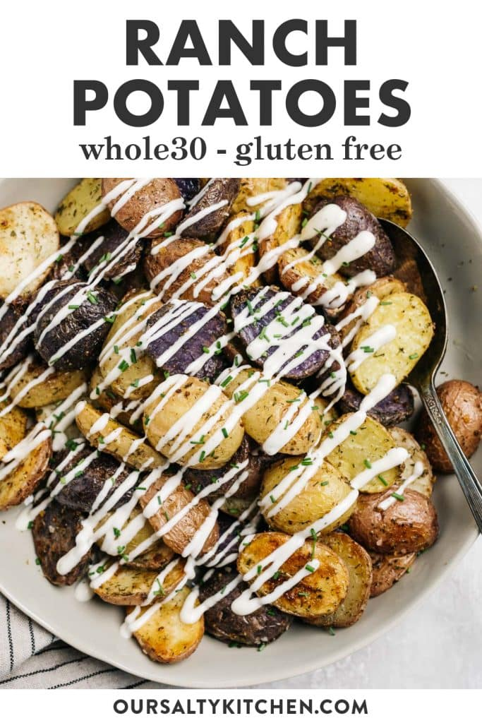 Pinterest image for whole30 ranch potatoes recipe.