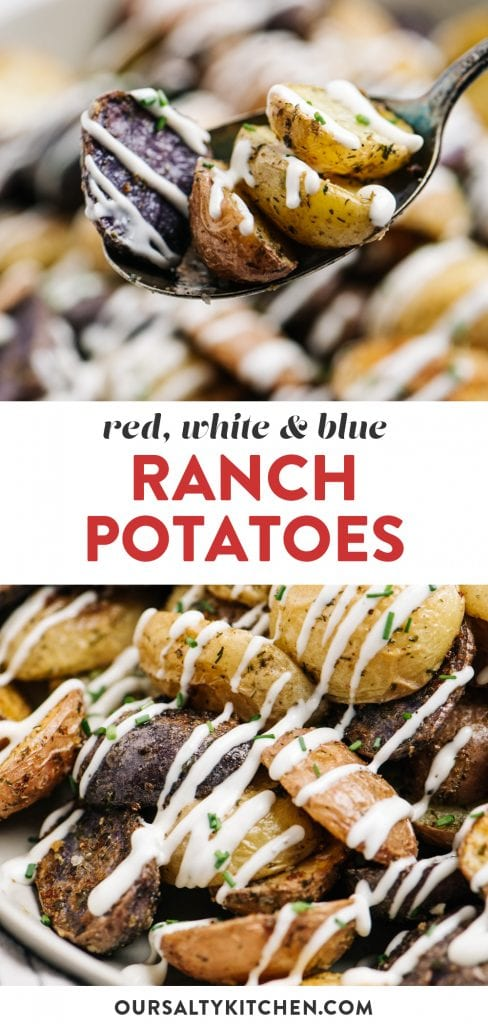Pinterest collage for an oven roasted ranch potatoes recipe.