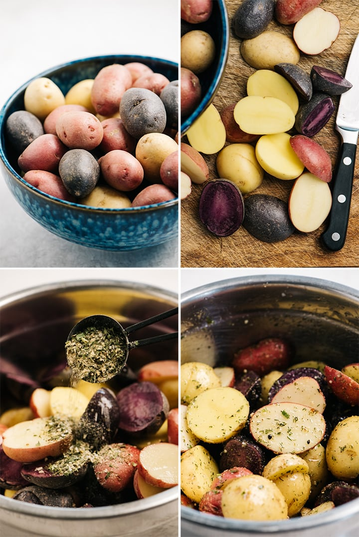 A collage showing how to cut and season baby new potatoes with ranch seasoning.