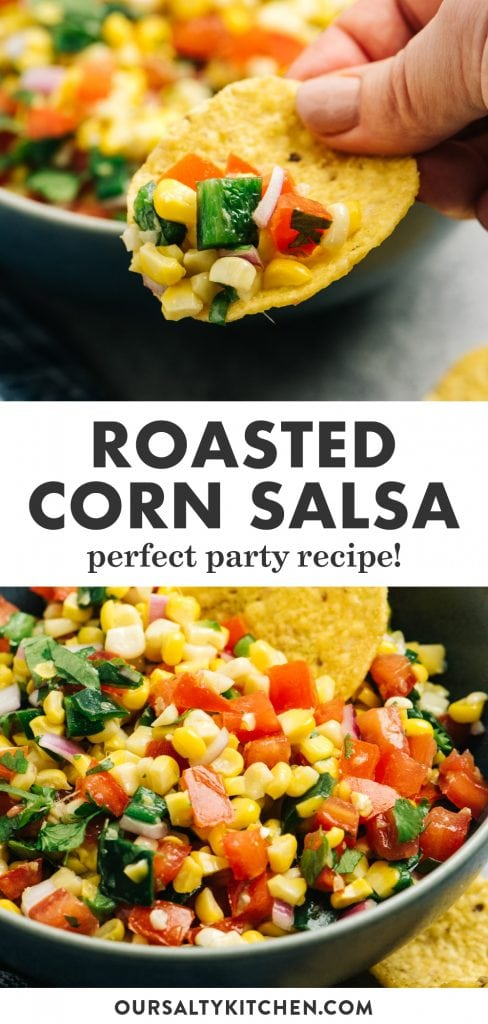 Pinterest collage for a corn salsa recipe with poblano peppers.