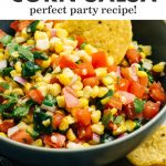 Pinterest image for a corn salsa recipe with poblano peppers.