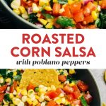 Pinterest collage for a roasted corn salsa recipe.