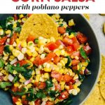 Pinterest image for a roasted corn salsa recipe.
