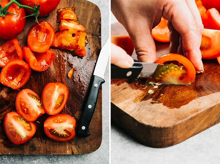 Quartered tomatoes on a cutting board, and how to slice seeds from a quartered tomato.
