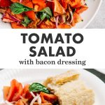 Pinterest collage for a tomato salad recipe with warm bacon dressing.