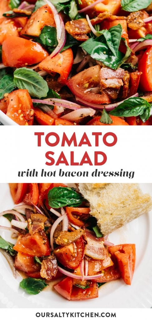 Pinterest collage for a tomato bacon salad.