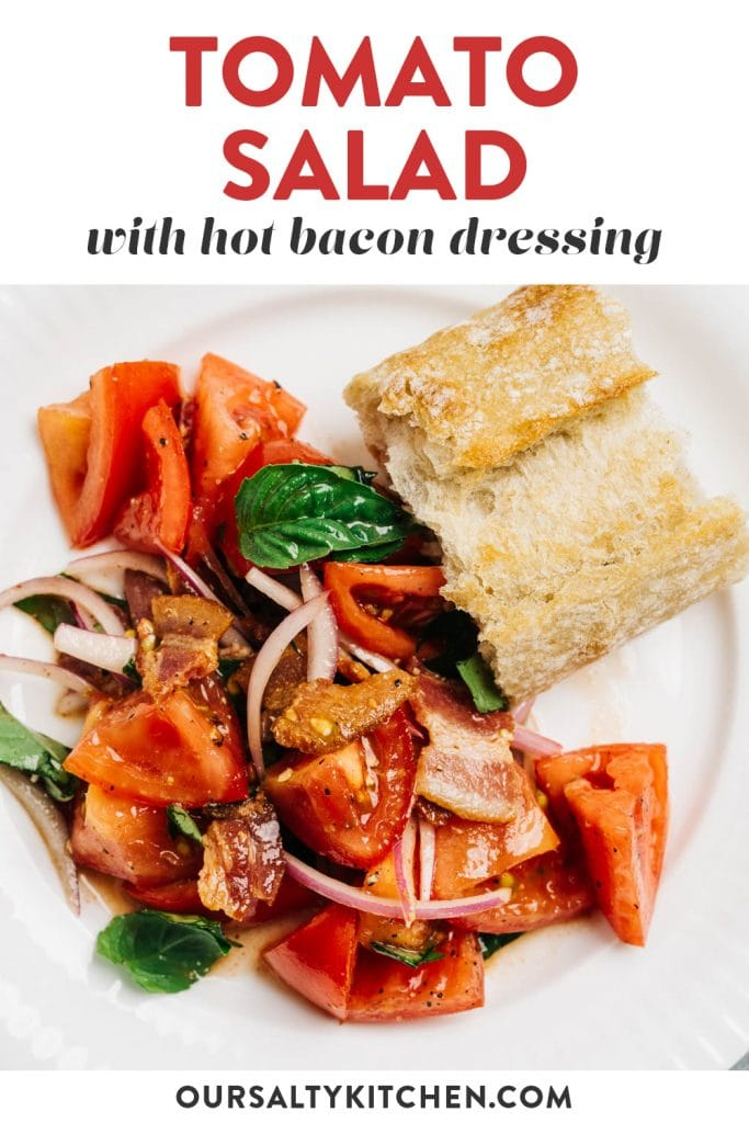 Pinterest image for a tomato bacon salad.