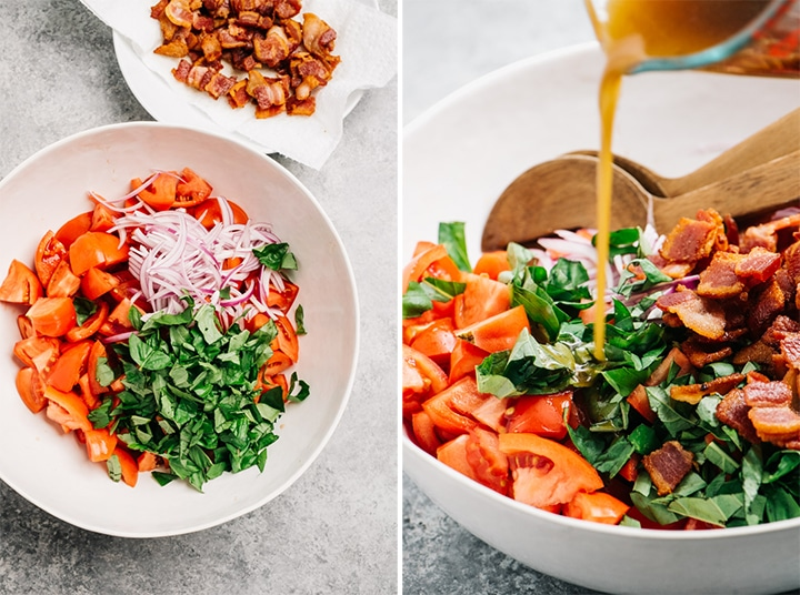 The ingredients for a bacon tomato salad in a large white bowl; bacon vinaigrette being poured over a tomato salad.