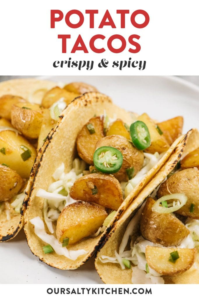 Pinterest image for spicy potato tacos with serrano chilies.