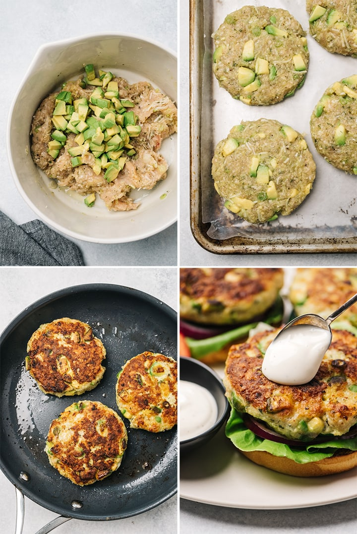A collage showing how to mix, form patties, and pan fry chicken burgers.